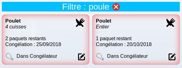 Filtre Inventaire Congélateur